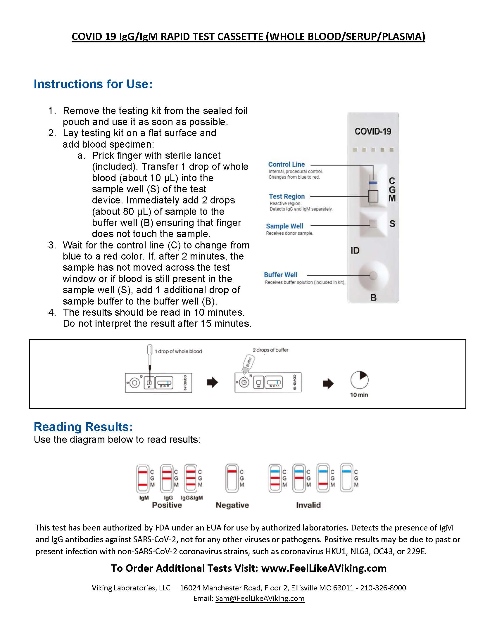 End User Instructions - Rona Testing Kit